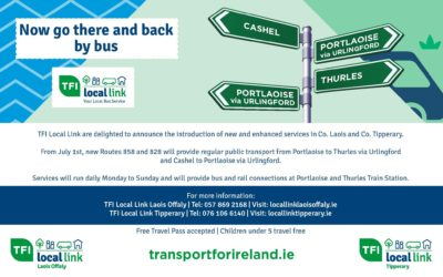 Increased Investment in TFI Local Link to enhance services between Cashel and Portlaoise